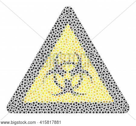 Vector Biohazard Warning Covid Mosaic Icon Done For Clinic Projects. Biohazard Warning Mosaic Is Des