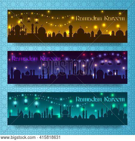 Banners For Ramadan Kareem And Eid With Night Holiday Arab City