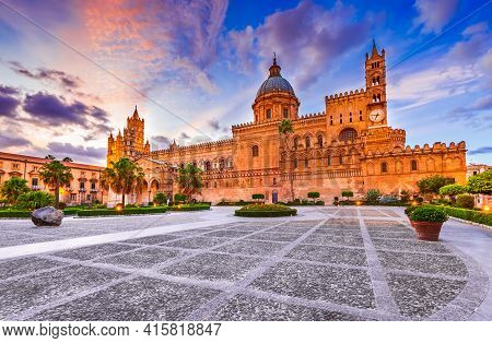 Palermo, Italy. Sunset With Norman Cathedral, Travel In Sicily.