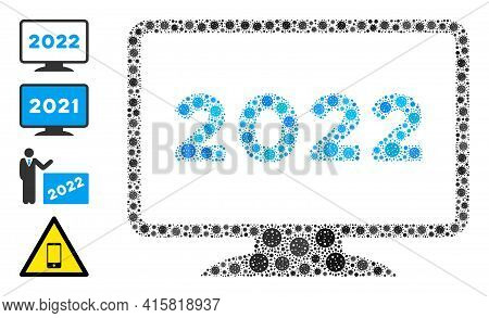 2022 Display Bacteria Mosaic Icon. 2022 Display Collage Is Constructed From Scattered Bacteria Items