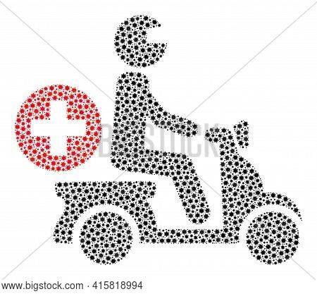 Vector Doctor Motorbike Coronavirus Collage Icon Created For Pandemic Posters. Doctor Motorbike Mosa