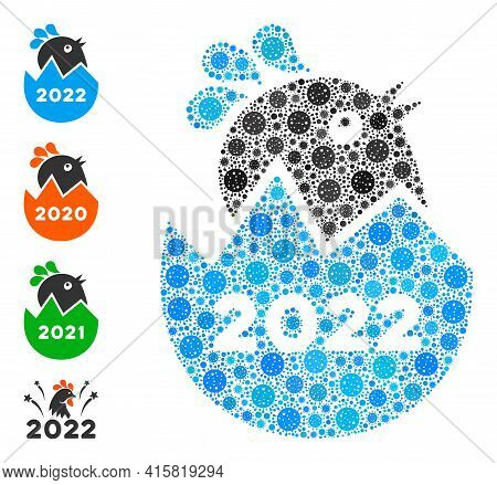 2022 Hatch Chick Bacteria Mosaic Icon. 2022 Hatch Chick Collage Is Composed Of Scattered Covid Icons