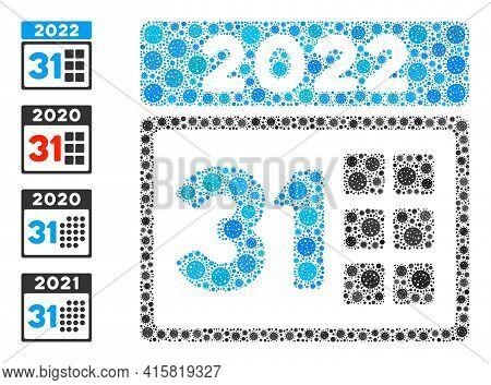 2022 Last Day Coronavirus Mosaic Icon. 2022 Last Day Collage Is Done Of Random Coronavirus Parts. Bo