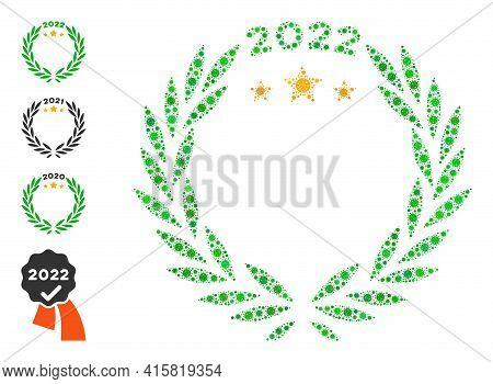 2022 Laurel Wreath Bacteria Mosaic Icon. 2022 Laurel Wreath Collage Is Organized With Randomized Cor
