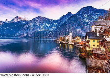 Hallstatt, Austria - Colored Sunset, Postcard View Of Famous Alps Mountain Village In Salzkammergut