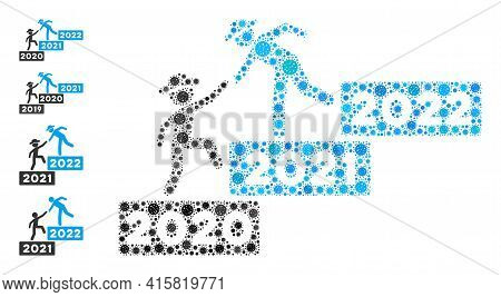 2022 Year Guy Help Coronavirus Mosaic Icon. 2022 Year Guy Help Collage Is Formed From Randomized Cel