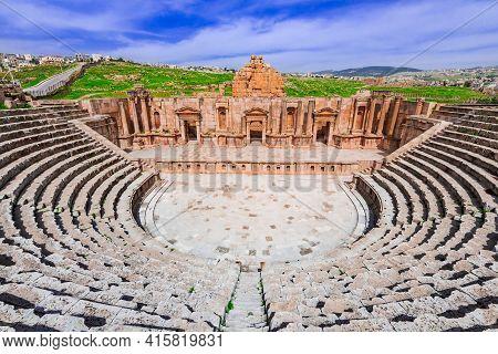Jerash, Jordan - Panoramic View Of Roman Theater In Jerash, Ancient Roman City In Jordan.
