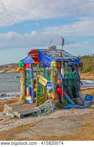 Hvaler, Norway - October 27, 2016: Shed Made From Ocean Drift Plastic Recycling Environment Conserva