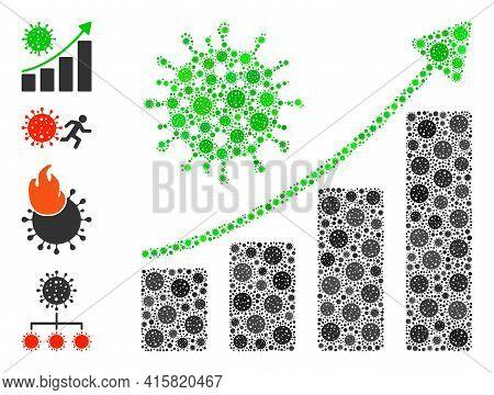 Coronavirus Growing Trend Covid Mosaic Icon. Coronavirus Growing Trend Collage Is Done Of Randomized