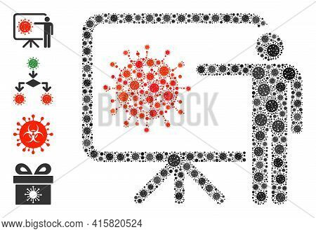 Coronavirus Lecture Covid Mosaic Icon. Coronavirus Lecture Collage Is Created Of Scattered Covid Par