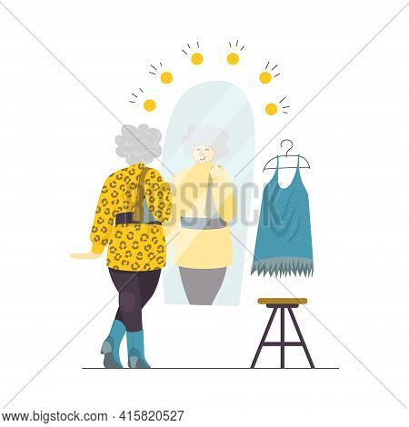 A Vector Illustration Of A Senior Lady Trying On New Clothes In A Dressing Room. A Happy Elderly Wom