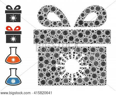 Coronavirus Surprize Box Coronavirus Mosaic Icon. Coronavirus Surprize Box Collage Is Shaped With Ra