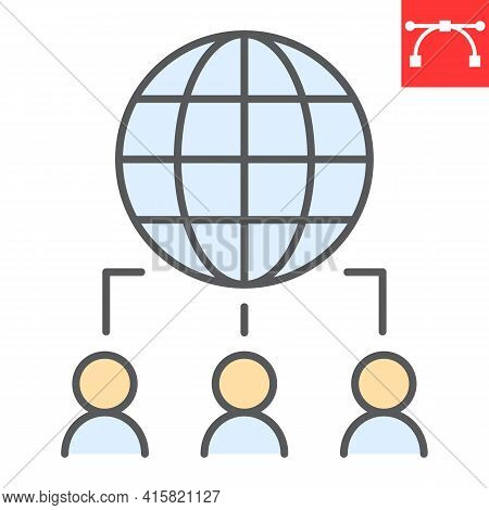 Outsourcing Color Line Icon, Global And Teamwork, Outsource Vector Icon, Vector Graphics, Editable S
