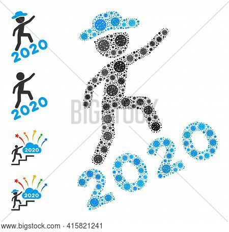 Gentleman Climbing 2020 Covid Mosaic Icon. Gentleman Climbing 2020 Collage Is Shaped Of Scattered Co