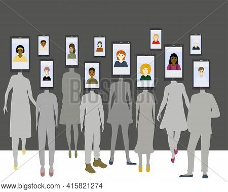 Group of people with a phone instead of head. Be yourself concept. Сome out of the shadow. Women and men in silhouette. Isolated vector illustration on white background. Place for your text