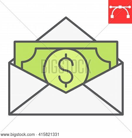 Salary Color Line Icon, Corruption And Earnings, Money In Envelope Vector Icon, Vector Graphics, Edi
