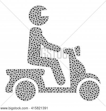 Vector Motorbike Driver Covid Mosaic Icon Constructed For Lockdown Applications. Motorbike Driver Mo