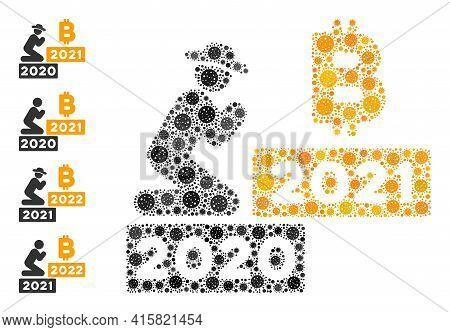 Gentleman Pray Bitcoin 2021 Coronavirus Mosaic Icon. Gentleman Pray Bitcoin 2021 Collage Is Shaped W