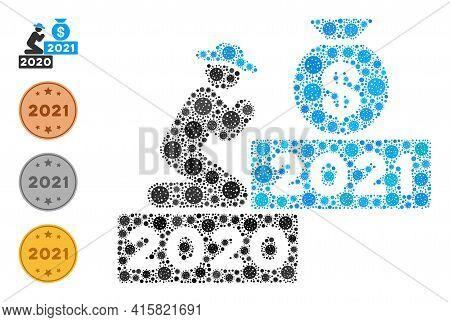 Gentleman Pray For Money 2021 Covid Virus Mosaic Icon. Gentleman Pray For Money 2021 Collage Is Desi