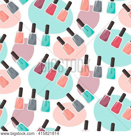 Pattern With Nail Polish And Abstract Spots. Multi-colored Bottles Of Nail Polish. Vector Illustrati