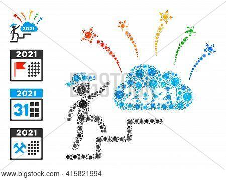 Gentleman Steps To 2021 Fireworks Bacteria Mosaic Icon. Gentleman Steps To 2021 Fireworks Collage Is