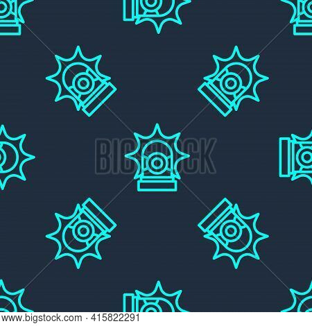 Green Line Flasher Siren Icon Isolated Seamless Pattern On Blue Background. Emergency Flashing Siren