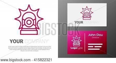 Logotype Line Flasher Siren Icon Isolated On White Background. Emergency Flashing Siren. Logo Design