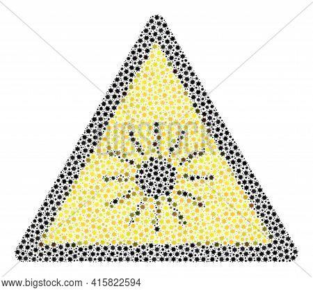 Vector Sun Radiation Warning Coronavirus Mosaic Icon Created For Medicare Advertisement. Sun Radiati