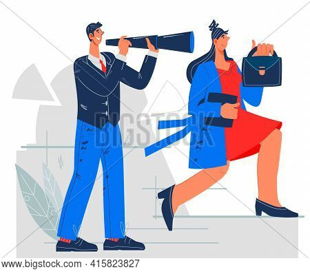 Career Opportunity With Business People Aiming Up Career Ladder, Flat Vector Illustration. Opportuni