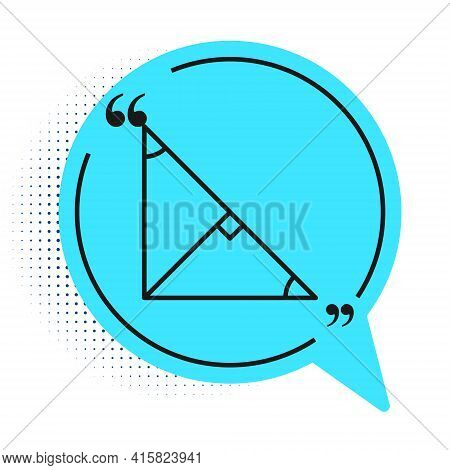 Black Line Angle Bisector Of A Triangle Icon Isolated On White Background. Blue Speech Bubble Symbol
