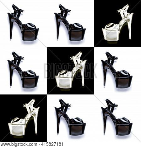 Seamless Fashion Pattern With Female Black High-heeled Shoes.  Female Sandals With Very High Heels O