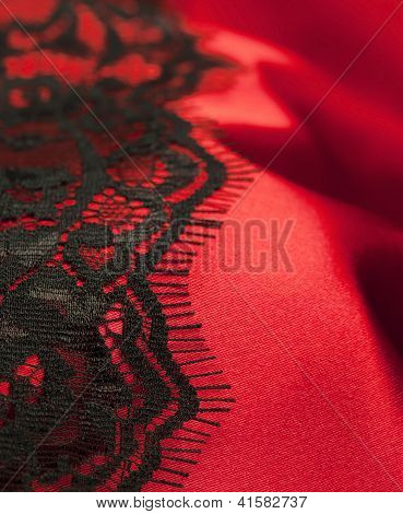 Red satin with black lace vertical format poster