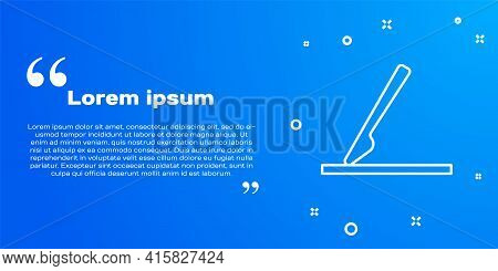 White Line Medical Surgery Scalpel Tool Icon Isolated On Blue Background. Medical Instrument. Vector