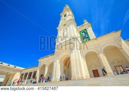 Fatima, Portugal - August 15, 2017: Tourists On Stairway Of Basilica Of Nossa Senhora, Sanctuary Of