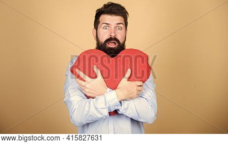 Dating And Relations Concept. Happy In Love. Make Him Feel Loved Every Day. Man Bearded Hipster Hug