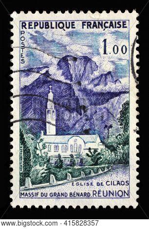 ZAGREB, CROATIA - SEPTEMBER 09, 2014: Stamp printed in the France shows Reunion, Cilaos Church - Grand Massif Benard, series, circa 1960