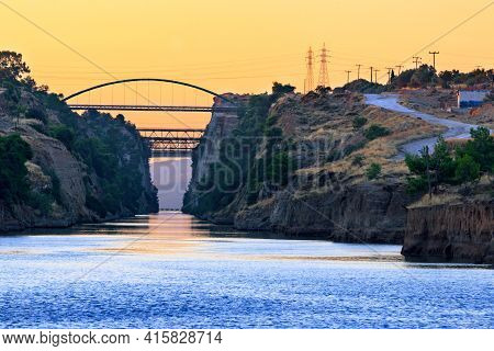 Rocky Transport Water Corridor Of The Corinth Canal Between Two Seas, A View Of The Bridges Over The