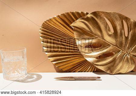 Golden Leaves Styled Stock Scene, Rich Eath Tones