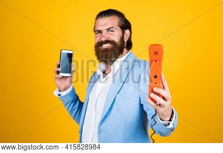 Communication. True Gentleman With Groomed Hair Hold Vintage Telephone. Nice Conversation. Bearded M