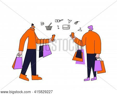 Two Adult Characters With Shopping Bags Isolated On White Background. Young Men Dressed In Casual Tr