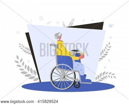 Senior Lady Sitting In Wheelchair After Sale. Mature Woman With Shopping Bags And Credit Card. Vecto