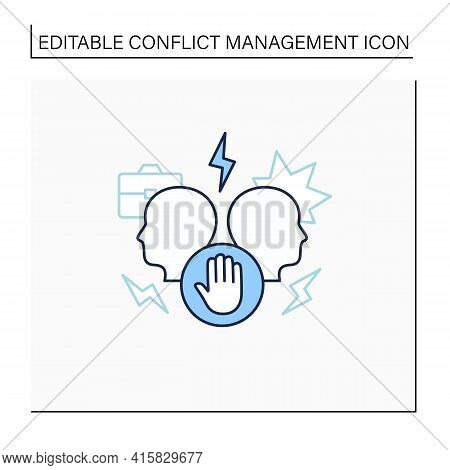 Avoid Conflict Line Icon. Aggravating Conflict Between Two Persons. Fight.misunderstanding Concept.