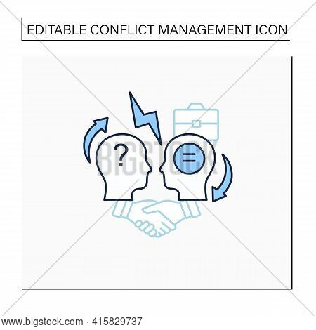 Conflict Resolution Line Icon.conflict Between Two Persons.peaceful Solution To Disagreement.resolve