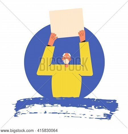 Protest. Elderly Man Standing And Holding Placard Isolated On White Background. Single Picket. Matur