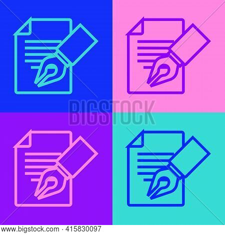 Pop Art Line Exam Sheet And Pencil With Eraser Icon Isolated On Color Background. Test Paper, Exam,