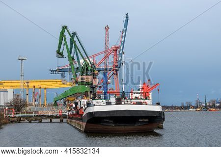 Gdansk, Poland - April 5, 2021: Ships And Cranes In The Shipyard In Gdansk. Poland, Europe
