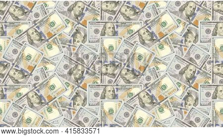 Usa Dollars Background  Seamless Pattern. 3d Illustration