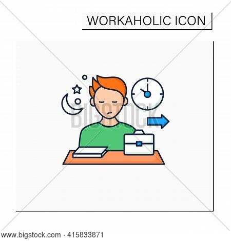 Workaholic Color Icon.last Leave Office. Works Until Nightfall. Man At Laptop. Hard Working.overwork