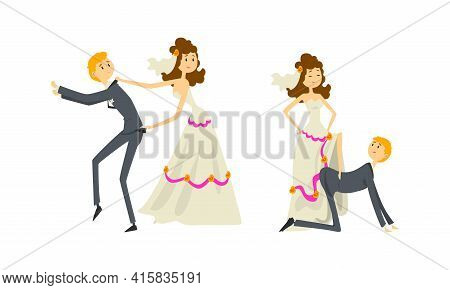 Funny Couple Of Newlyweds Set, Weak Henpecked Groom Dominated By Bride Cartoon Vector Illustration