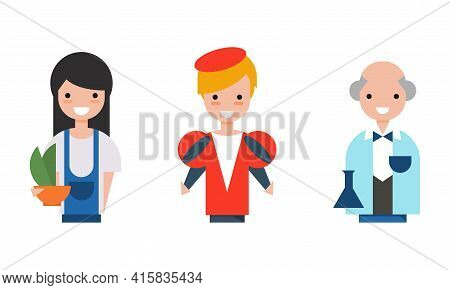 People Of Various Professions Set, Scientist, Actor, Gardener Characters Cartoon Vector Illustration